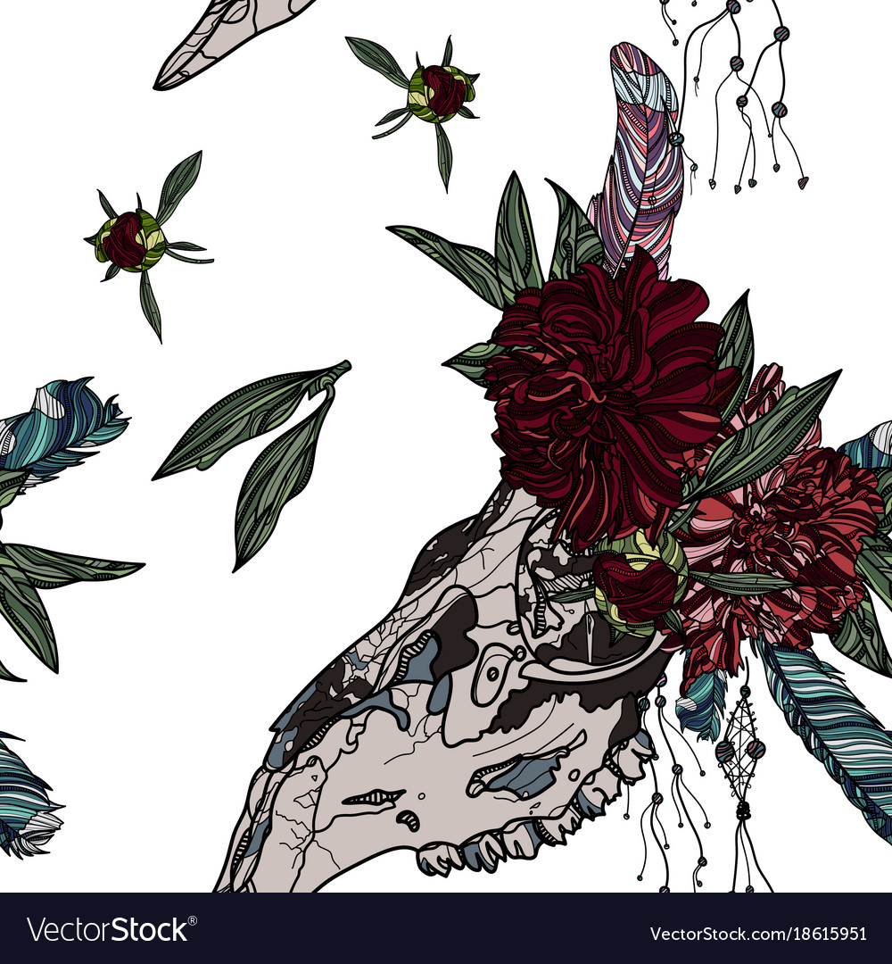 Seamless pattern with peony and animal skull