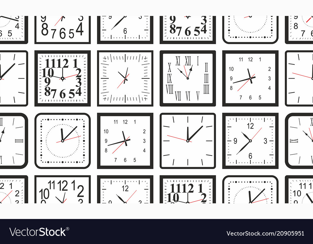 Seamless pattern with white square wall clock