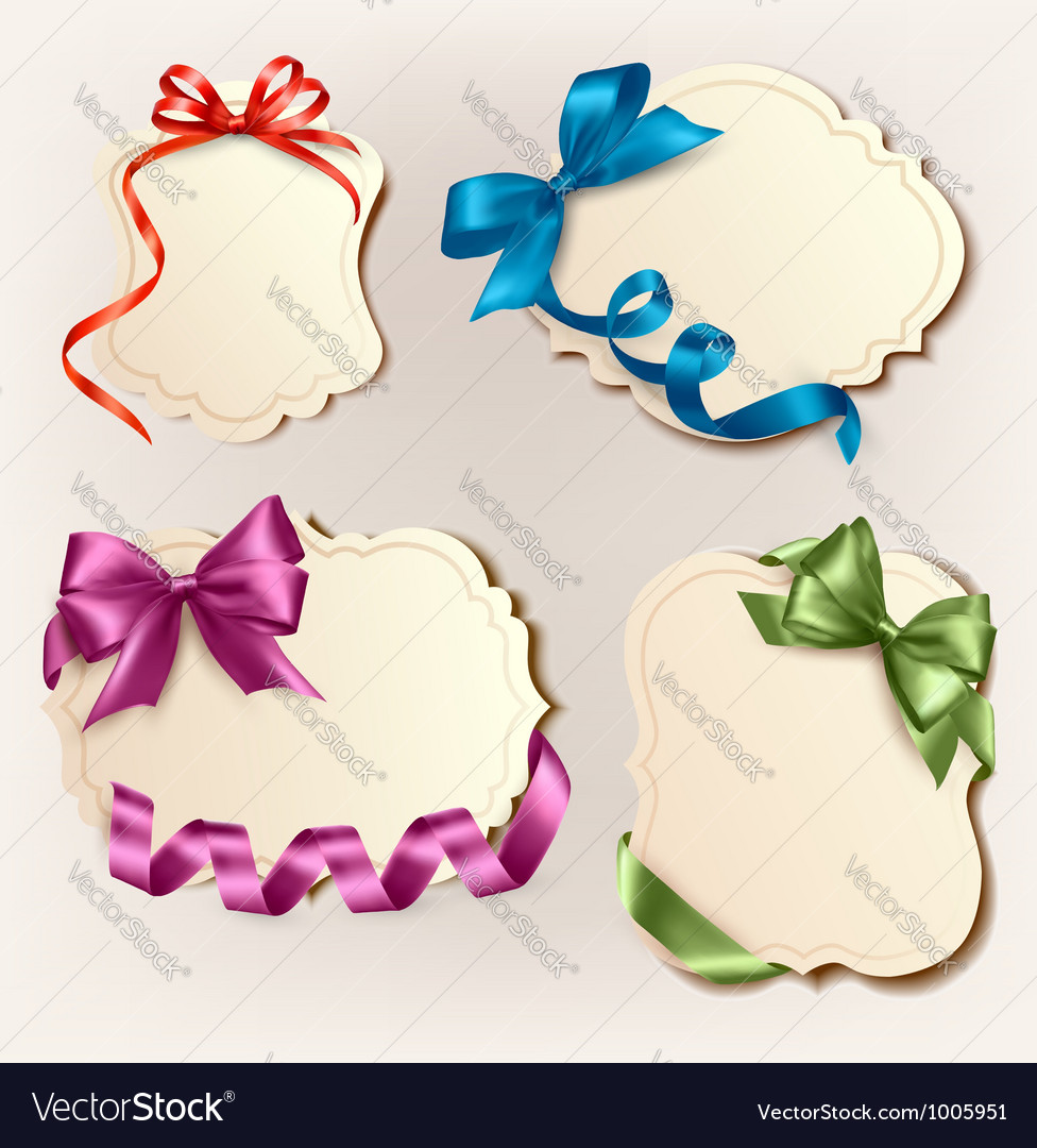 Set of beautiful cards with colorful gift bows