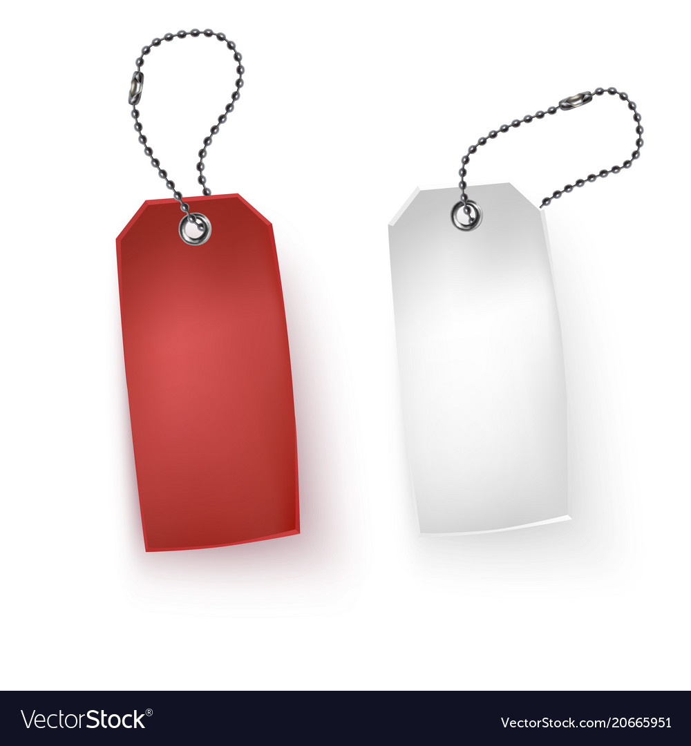 Set of realistic tags business blank retail card