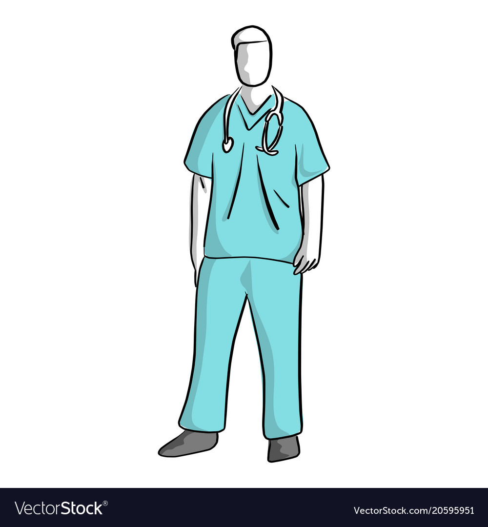 Surgeon standing sketch hand drawn
