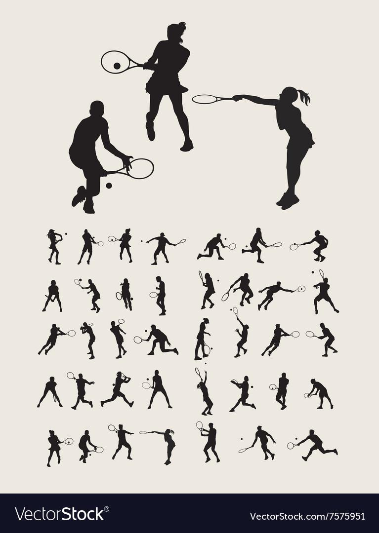 Tennis Sport Silhouettes