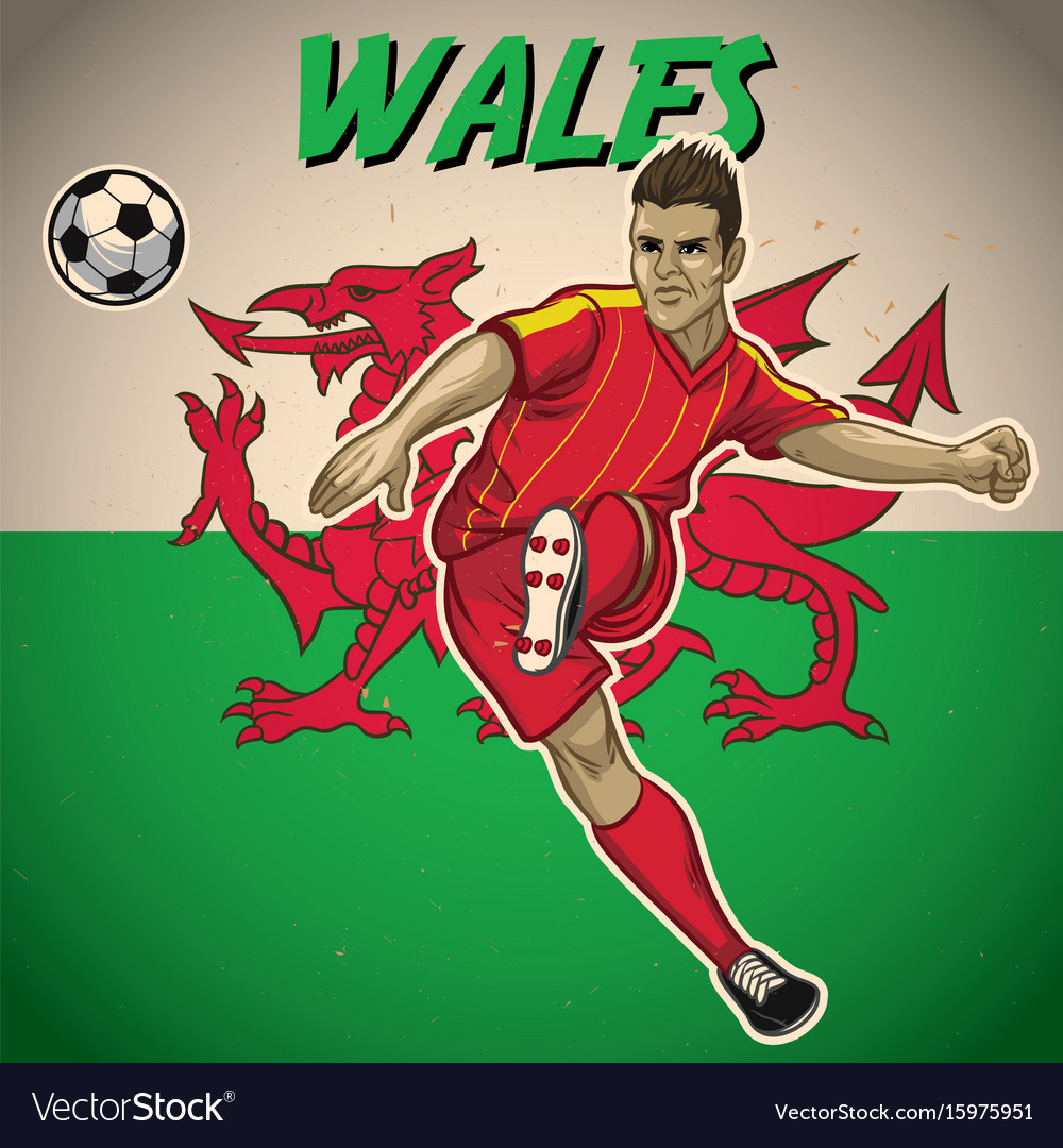 Wales soccer player with flag background