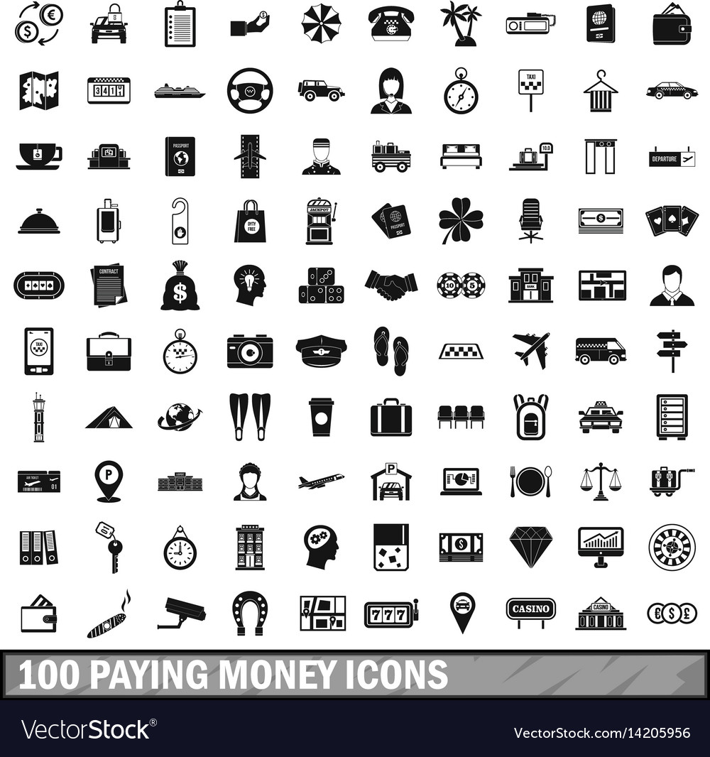 100 paying money icons set simple style