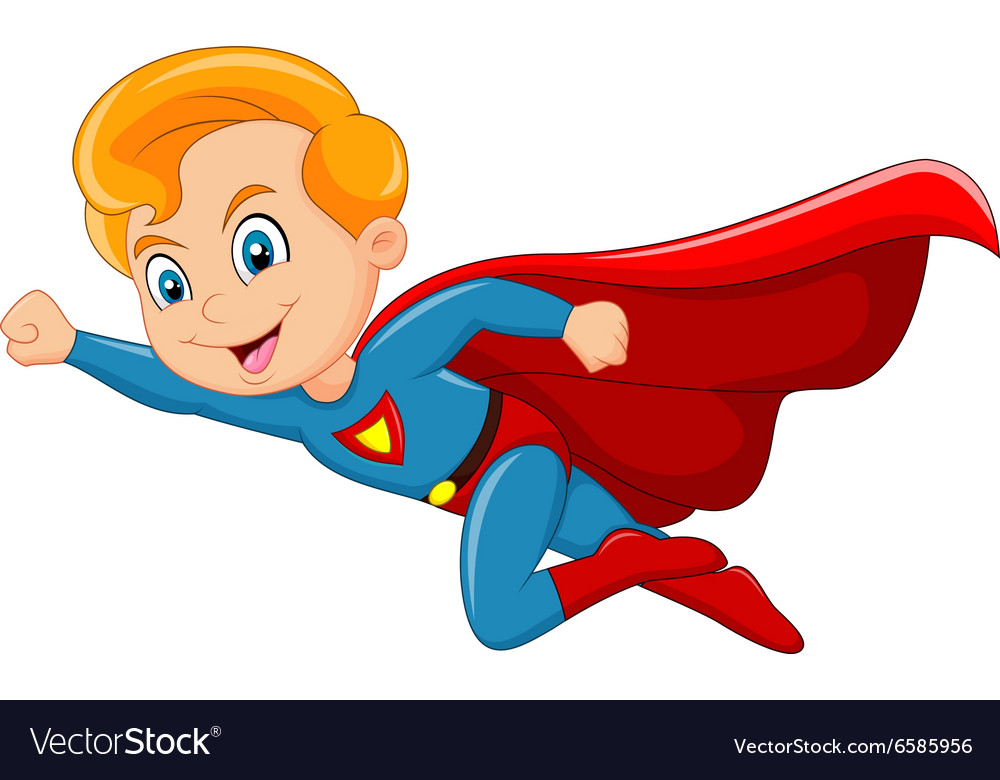 Cartoon superhero boy isolated on white background