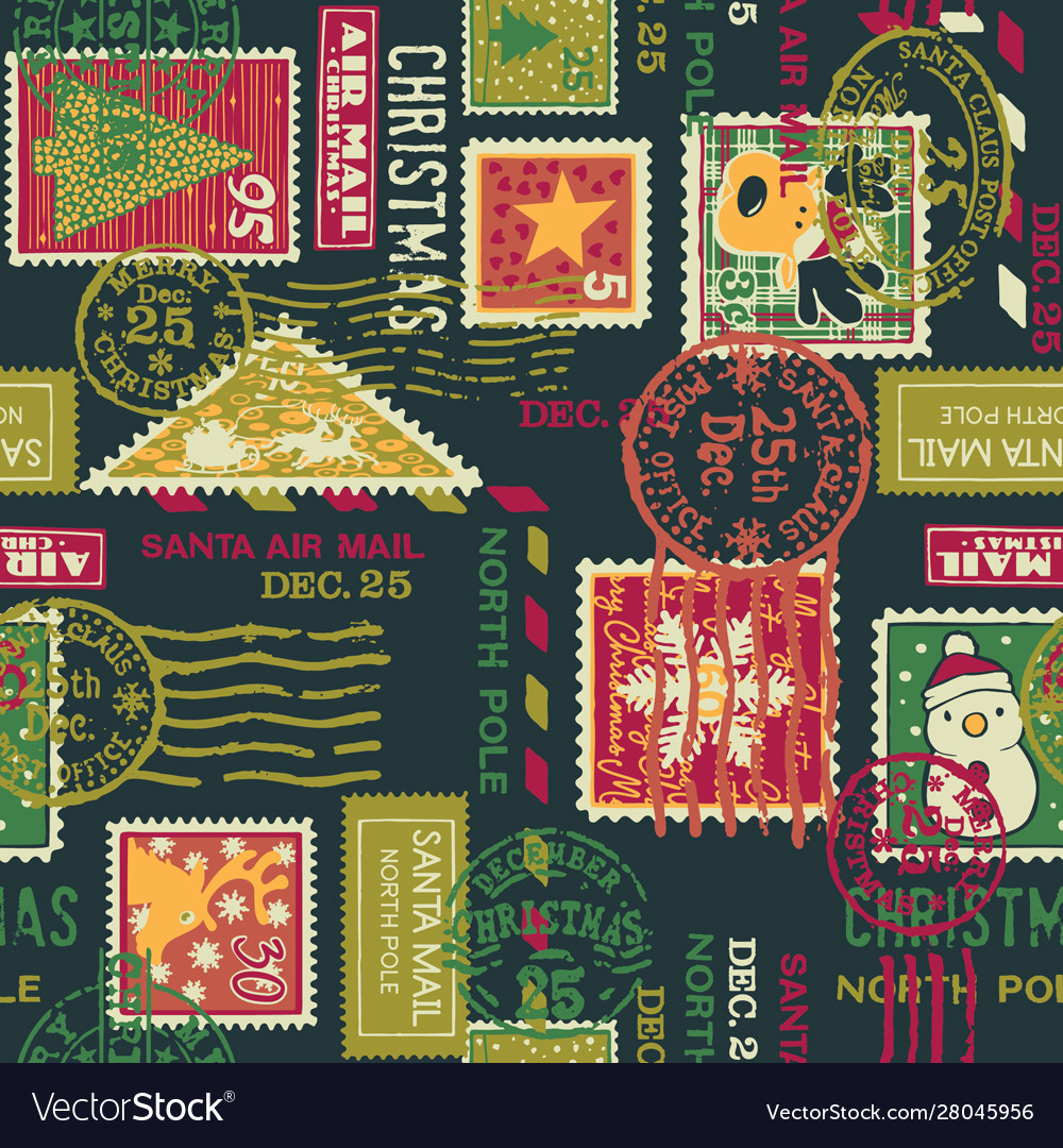 Christmas santa claus postage stamps elements