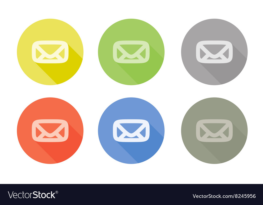 Collection of mail letter symbol rounded icon with