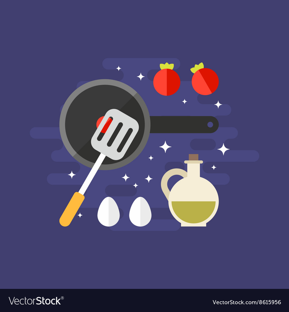 Cooking Concept Ingredients for Omelette with vector image