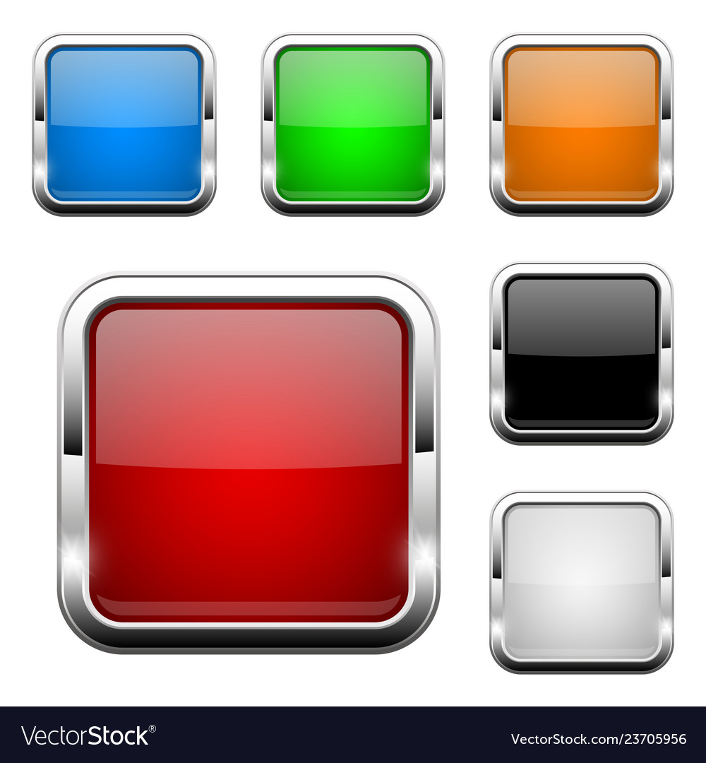 Glass buttons shiny square colored 3d web icons