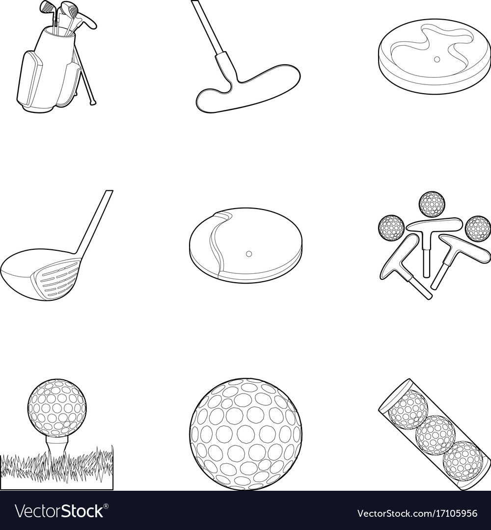 Golf equipment icons set outline style