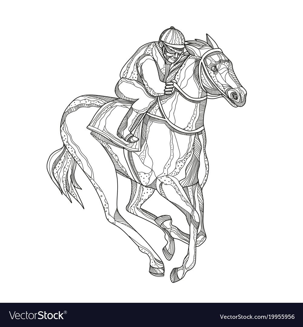 Horse Race Line Art Vector Images 61
