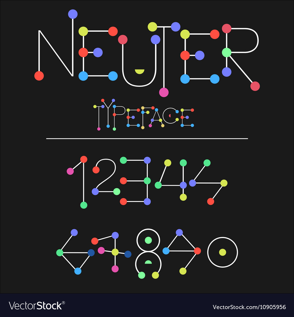 Neuter modern flat font made with dots good for