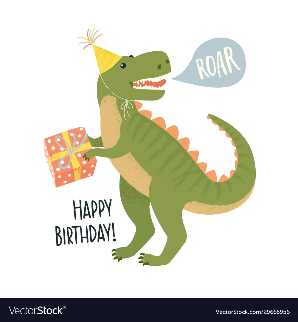 Party invitation card template with dinosaur