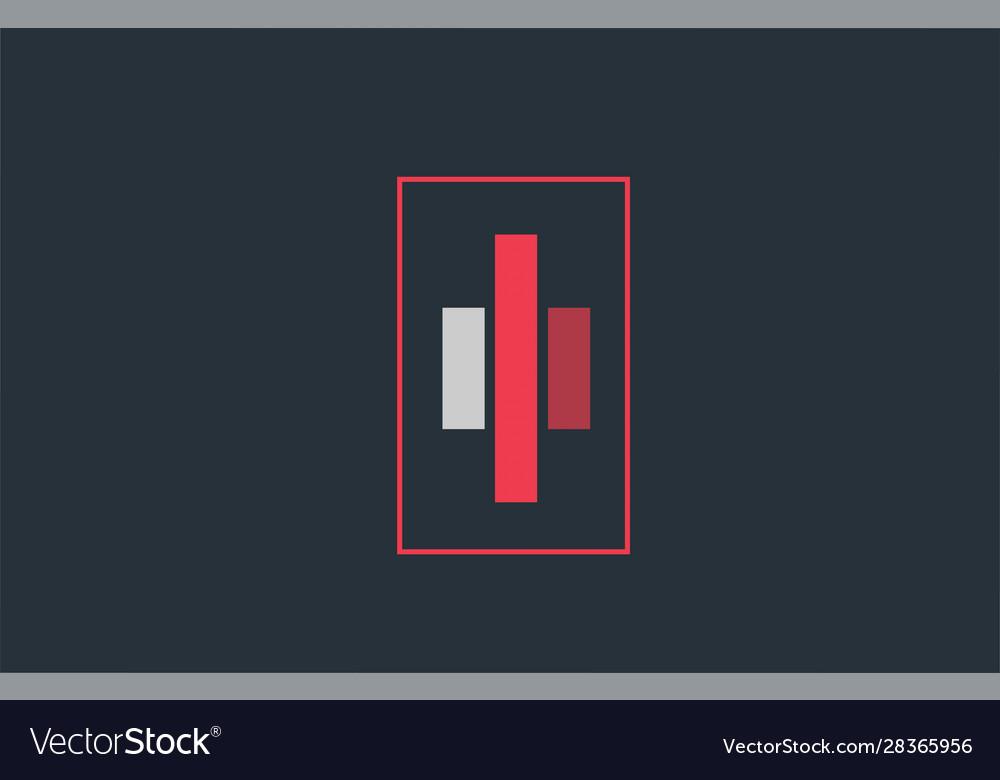 Red grey logo i alphabet letter design icon