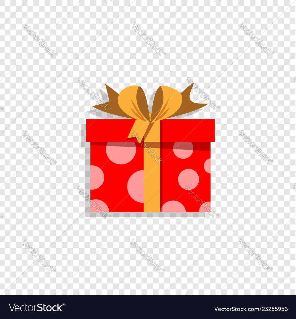 Red present box isolated on transparent