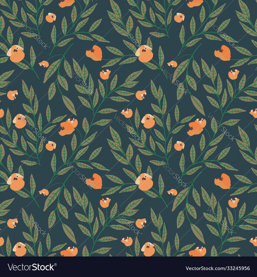 Seamless floral pattern with tree branches and