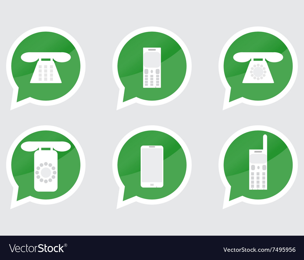 Set of telephone sticker vector image