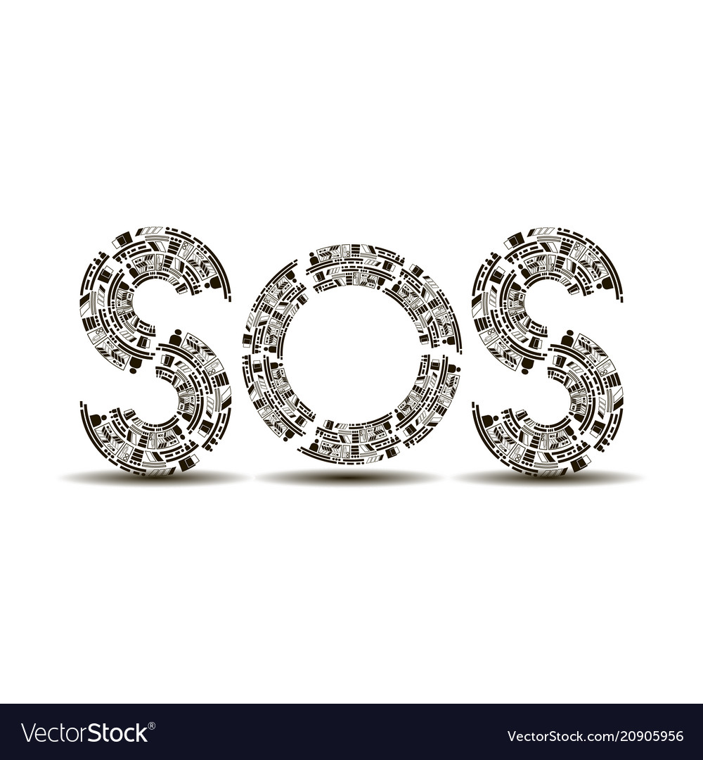 Sos recruited from geometric shapes on a white