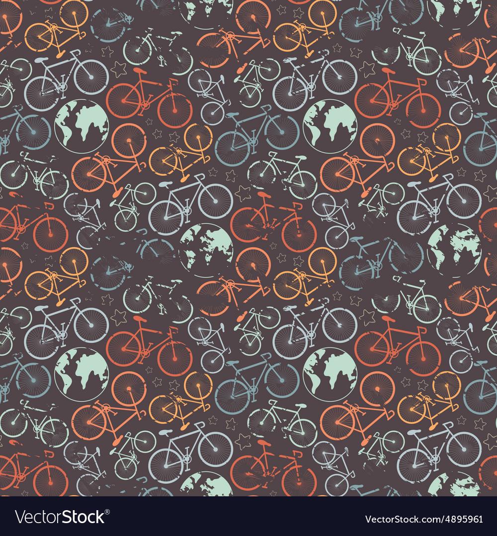 Bicycle grunge pattern vector image