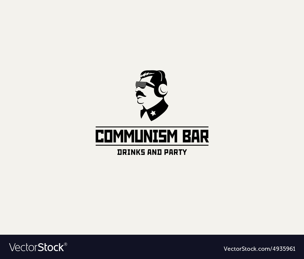 Communism style logo restaurant bar design vector image