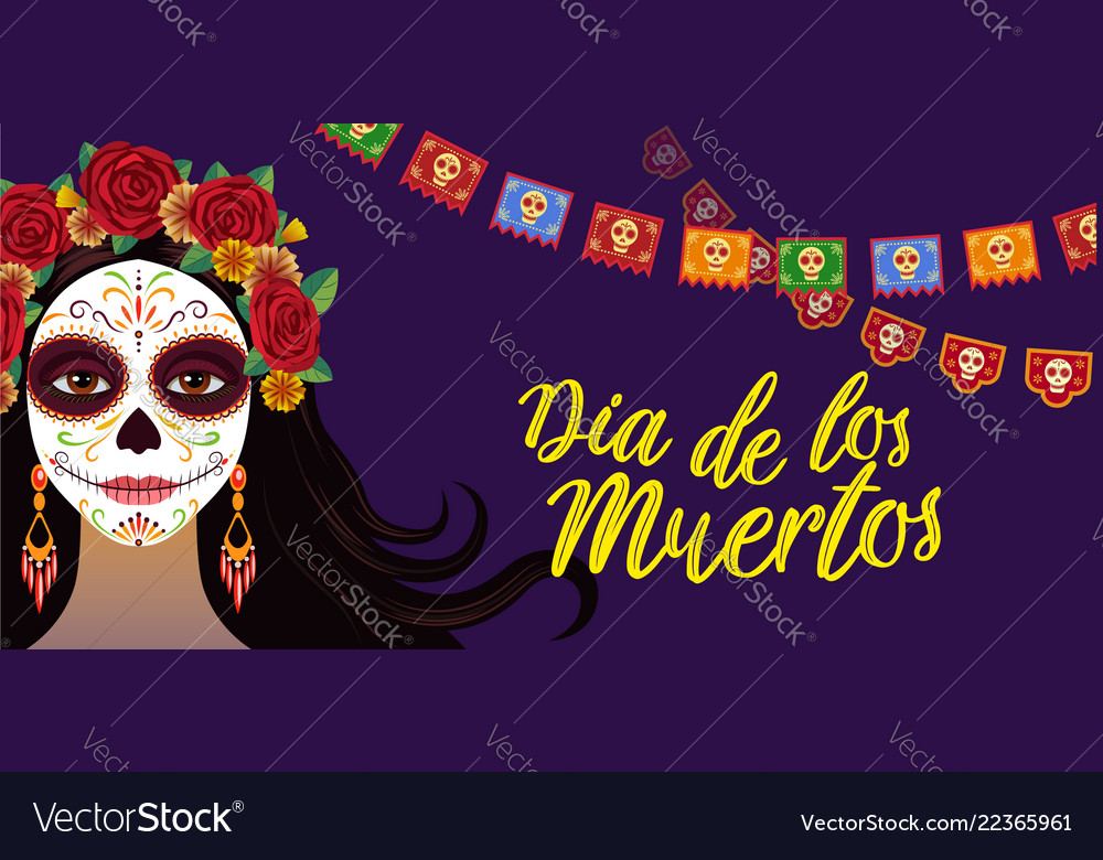 Day of dead colorful banner with girl with