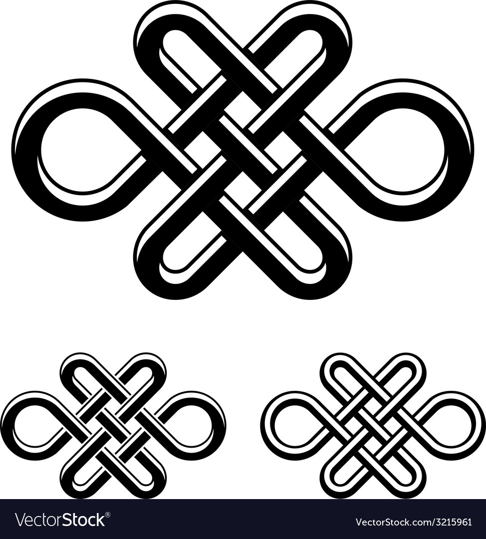 Endless Celtic Knot Black White Symbol Royalty Free Vector