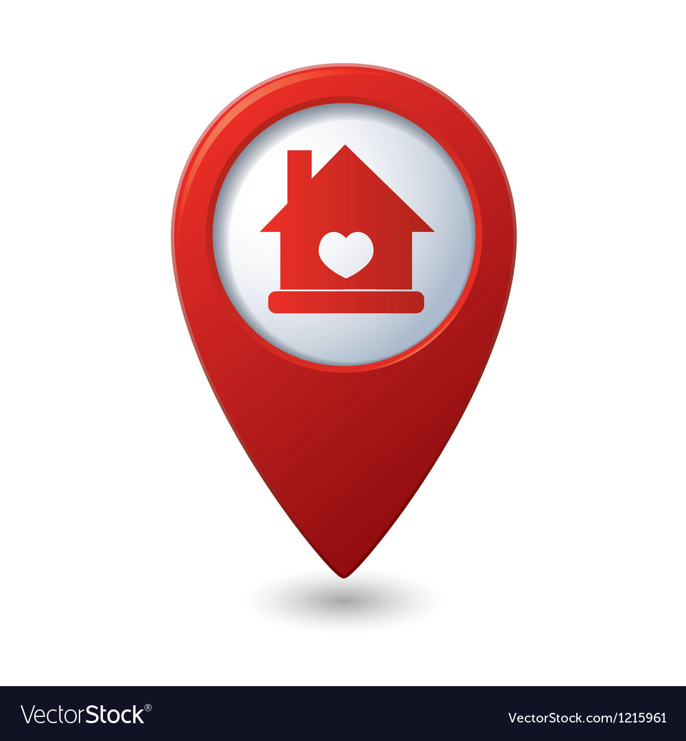 Home icon with heart icon on the red map pointer