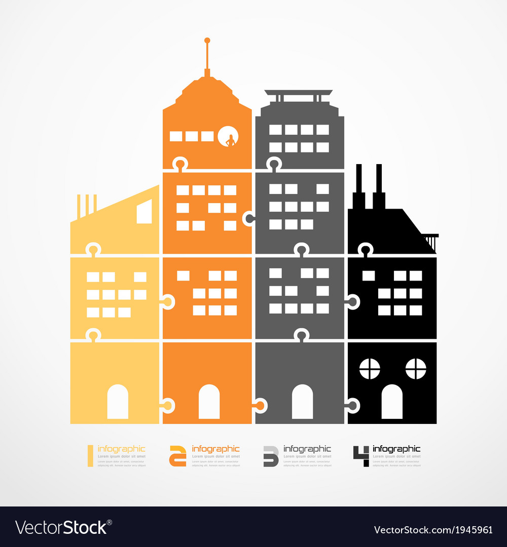 Infographic Template city tower jigsaw banner