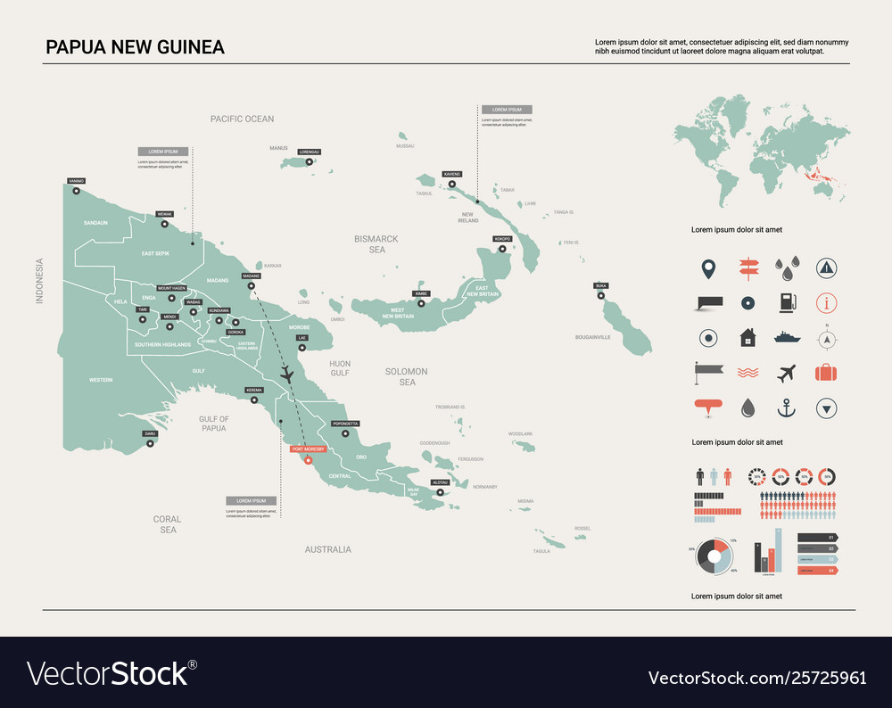 Map papua new guinea country map with division