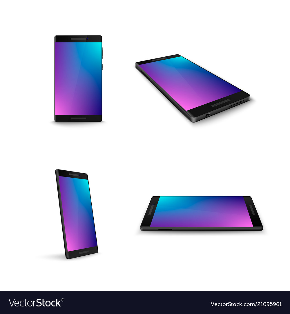 Mobile phone smart phone from different sides vector image