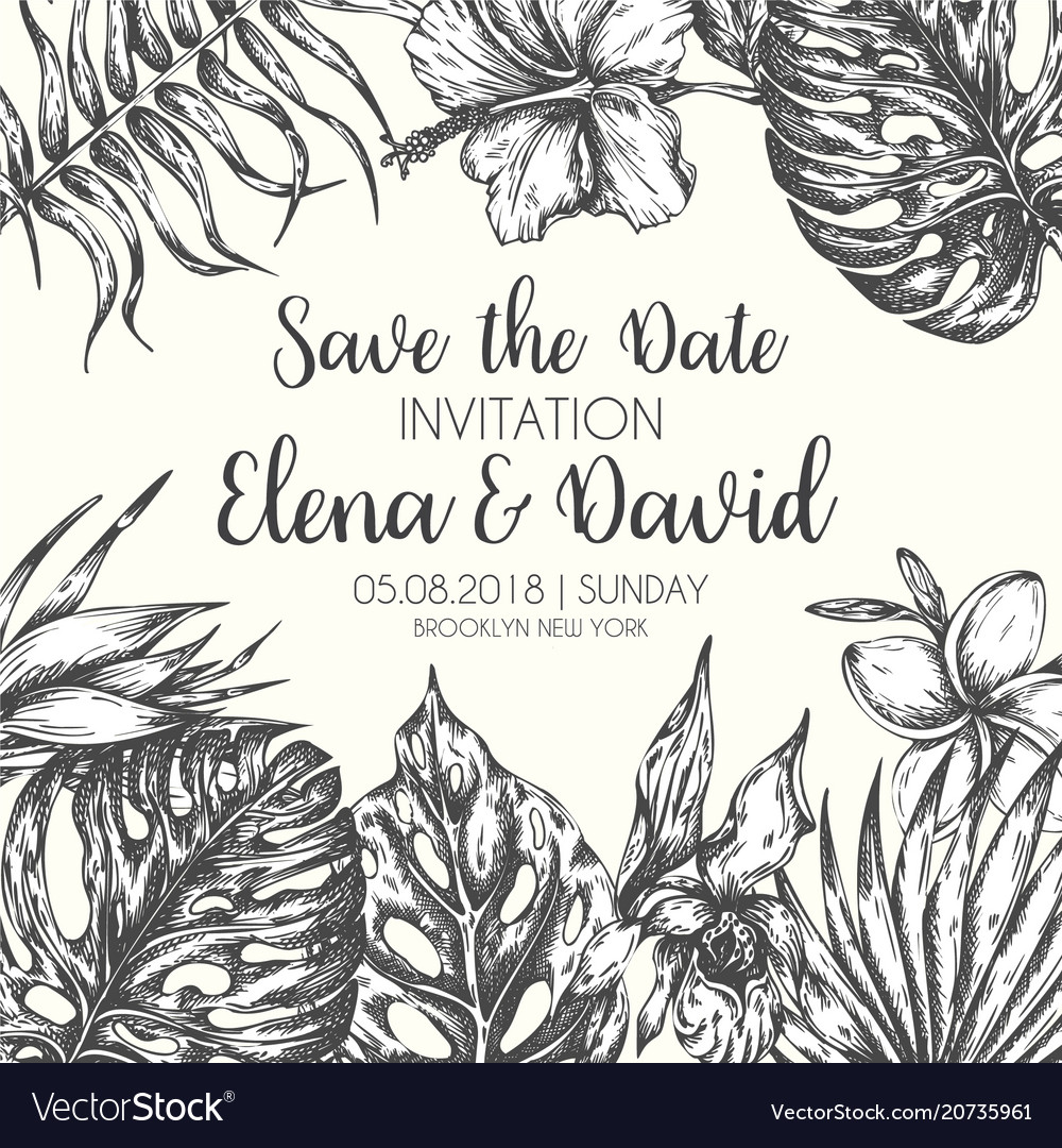Save the date tropical leaves trendy summer