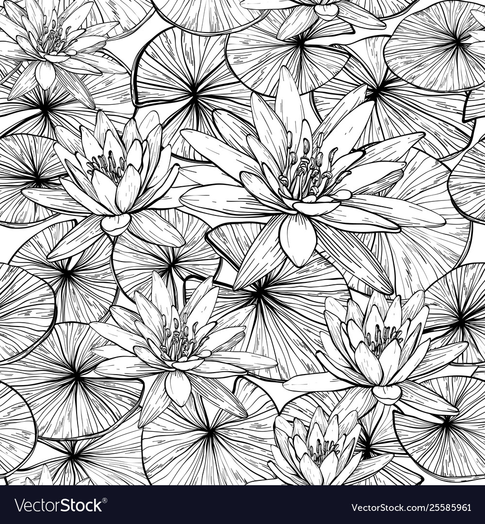 Seamless pattern with hand drawn water lilies