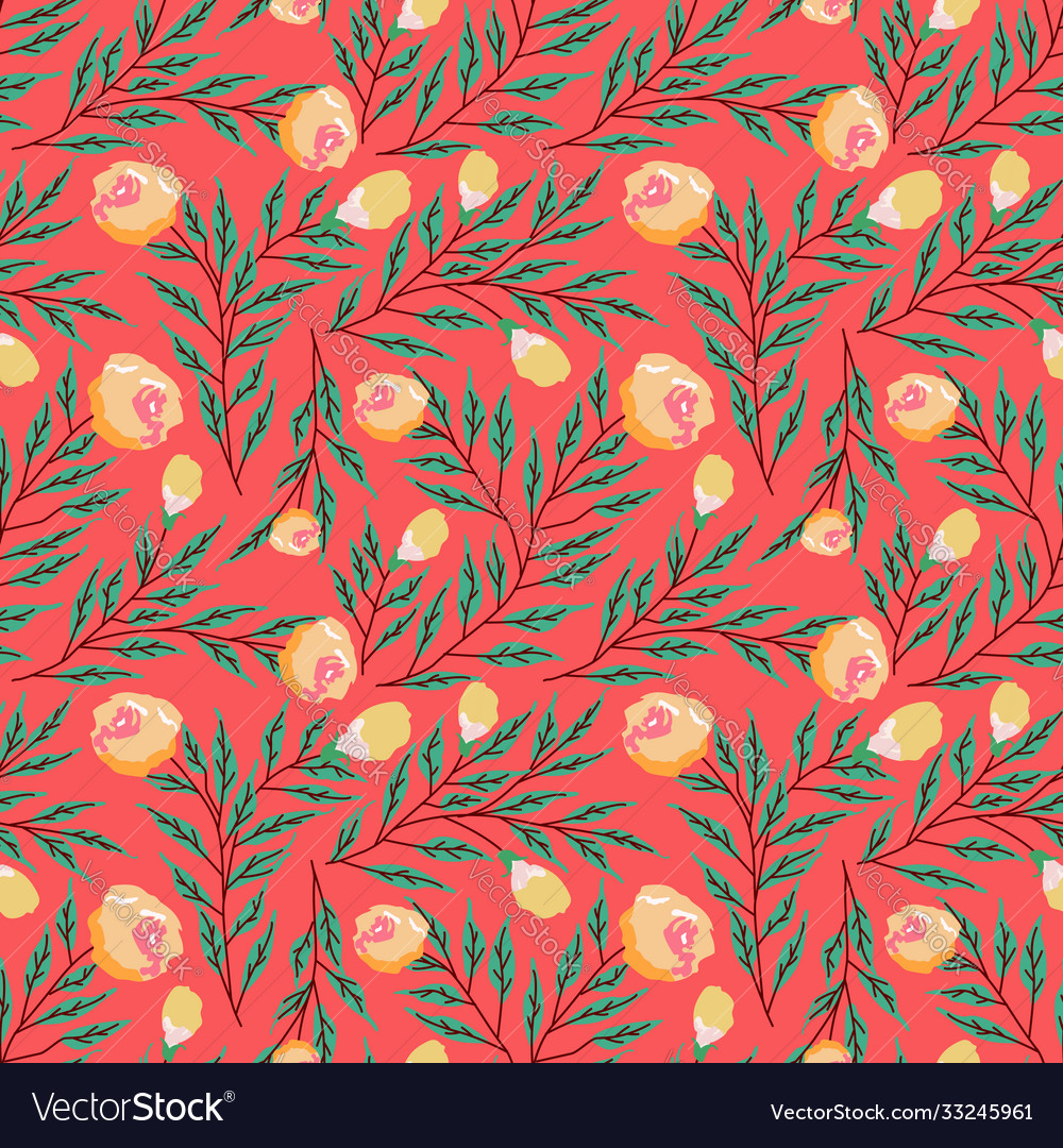 Seamless pattern with roses and abstract flowers