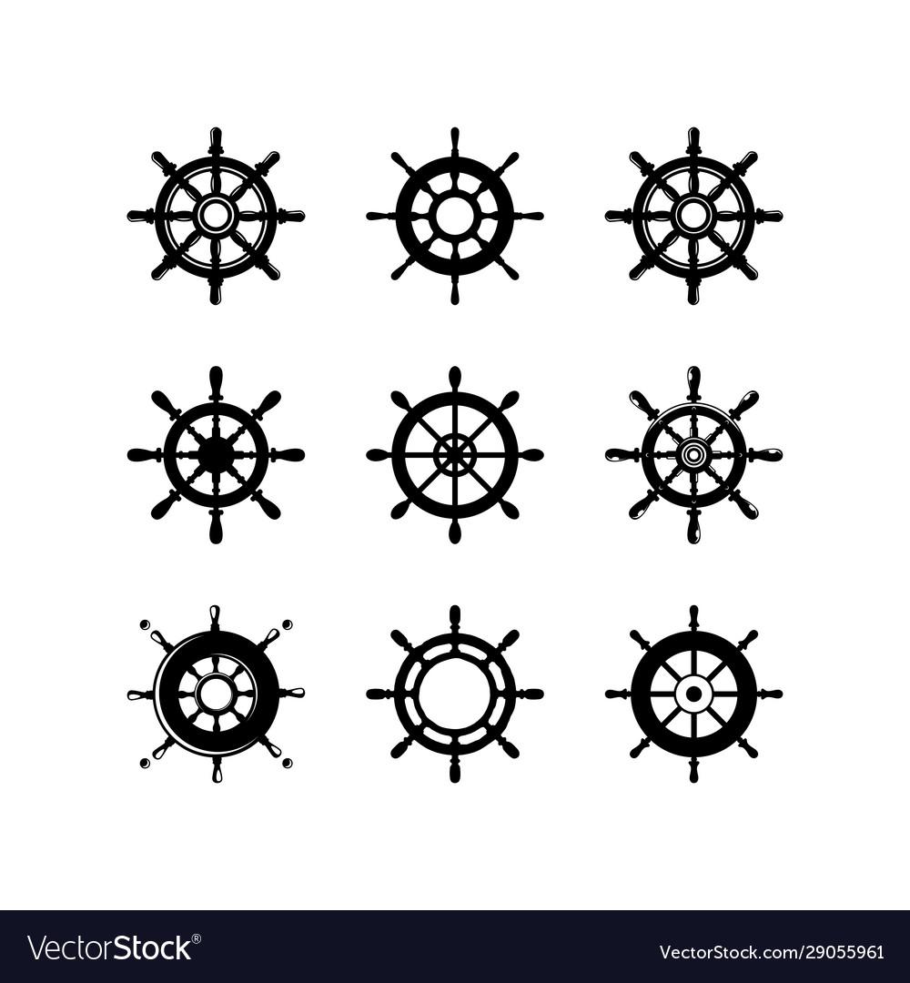 Set ship wheel logo template design