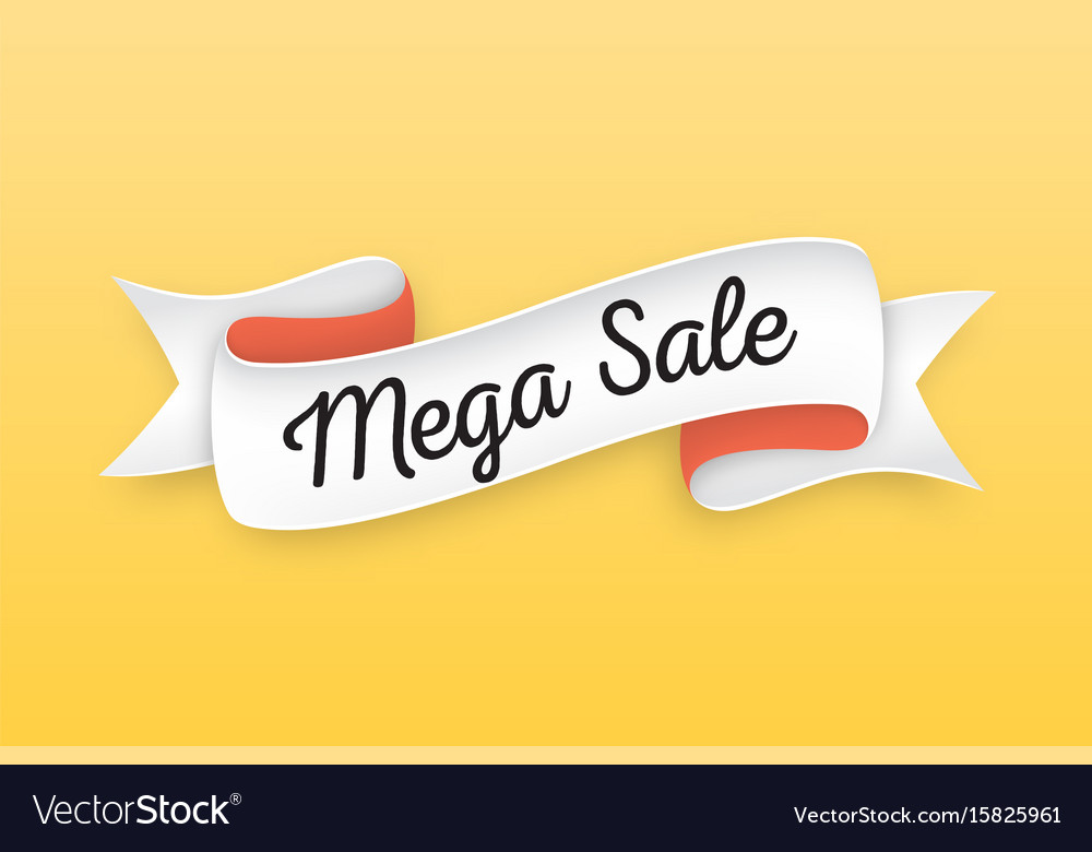 Trendy retro ribbon with text mega sale colorful