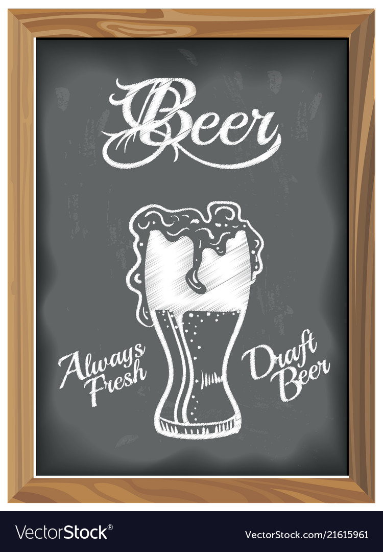 Vintage chalkboard with beer glass