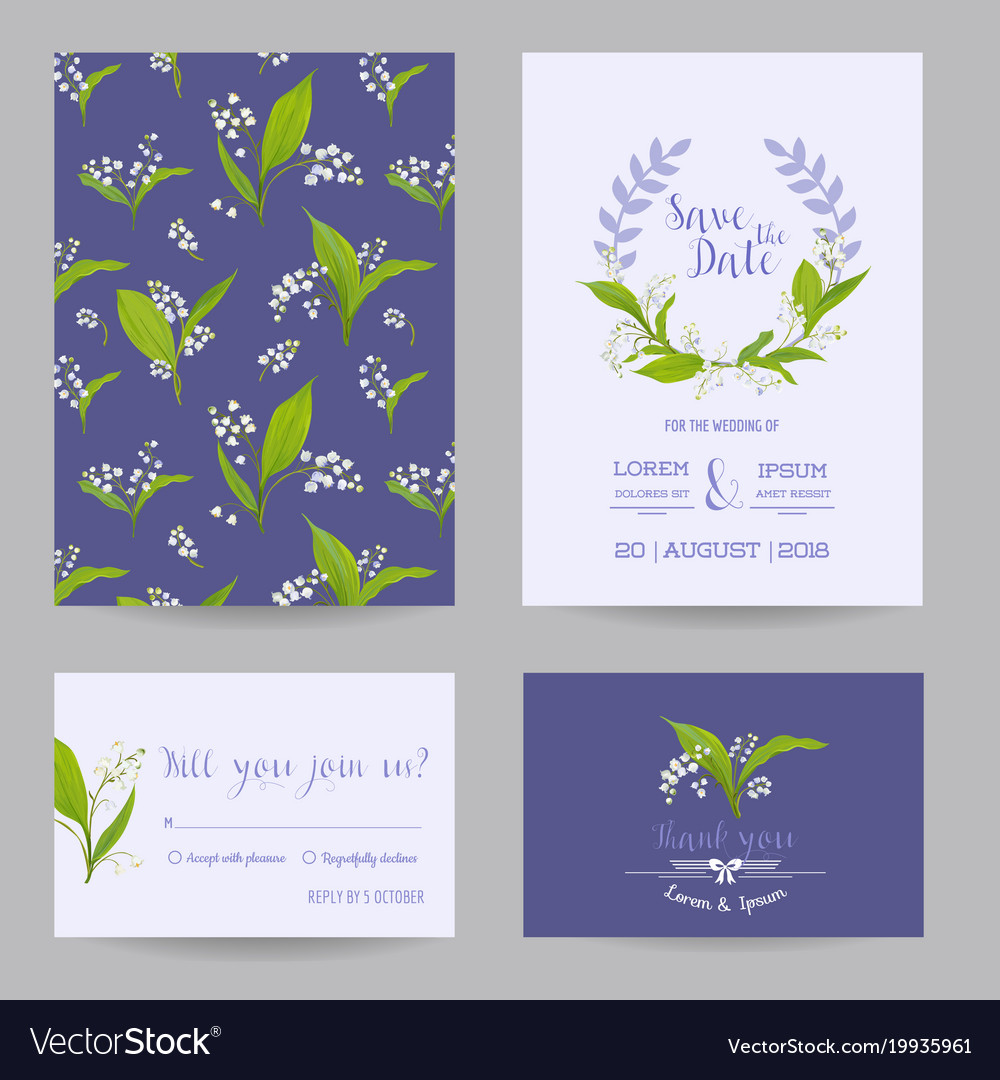 Wedding cards set with blossom lily flowers