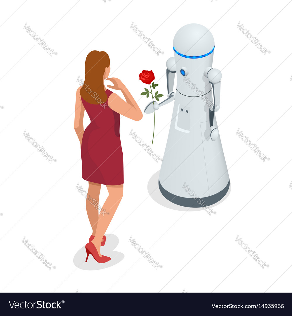 Artificial intelligence a robot gives a woman a