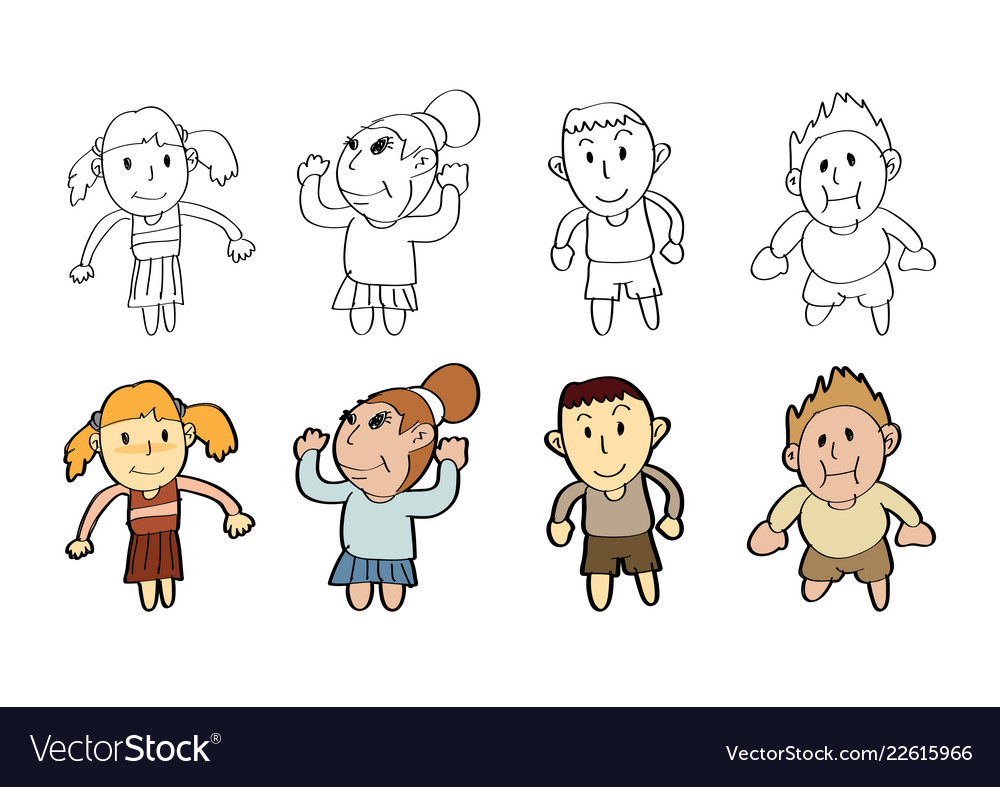 Cartoon Boy Girl Draw Paint Sketch Drawing Vector Image