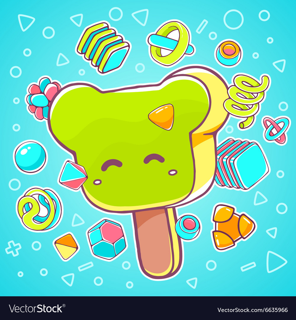 Colorful of green ice cream bear on blue bac