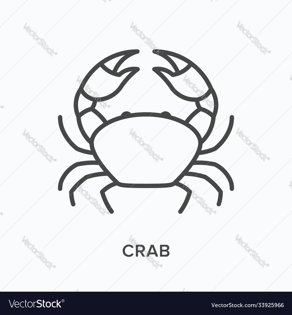 Crab flat line icon outline