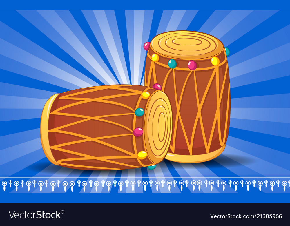 Indian drums concept banner cartoon style