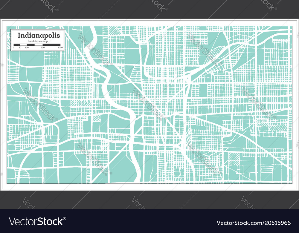 Indianapolis usa city map in retro style outline