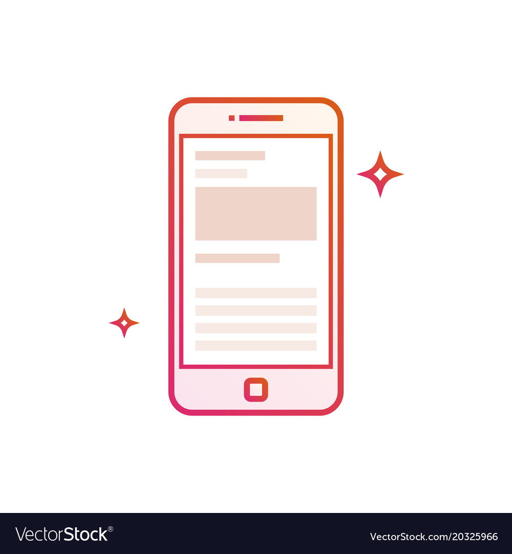 Mobile phone or smartphone icon gradient line vector image