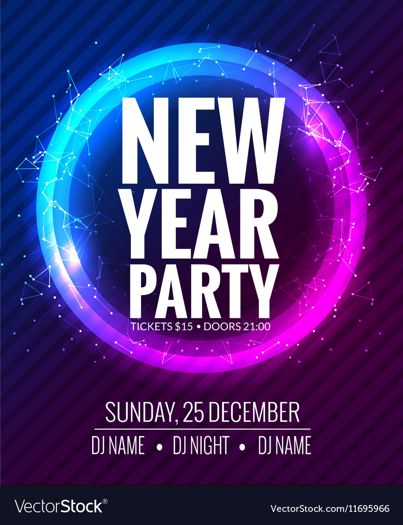new year party and christmas party poster template vector image