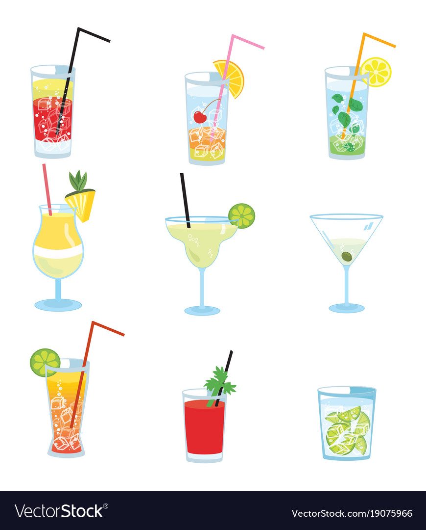 Set of alcoholic cocktails collection of