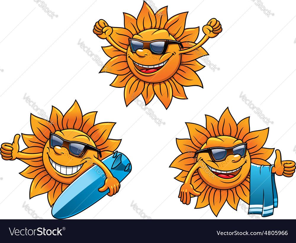 Trendy hip summer sun characters