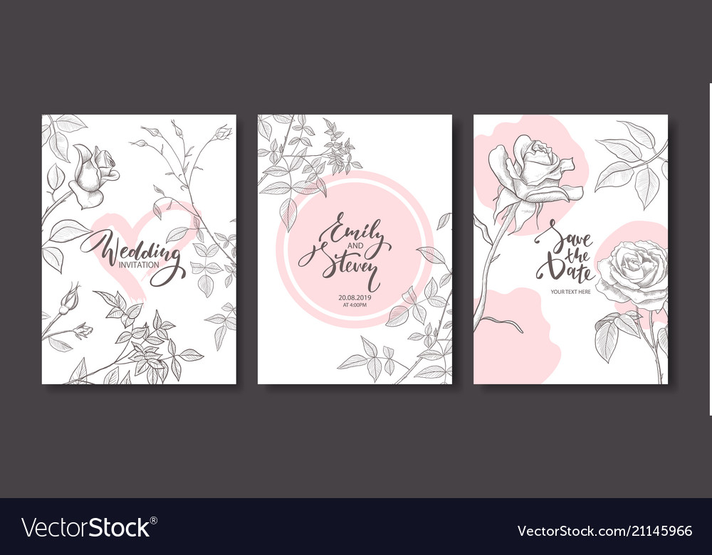 Wedding invitation cards with hand drawn roses