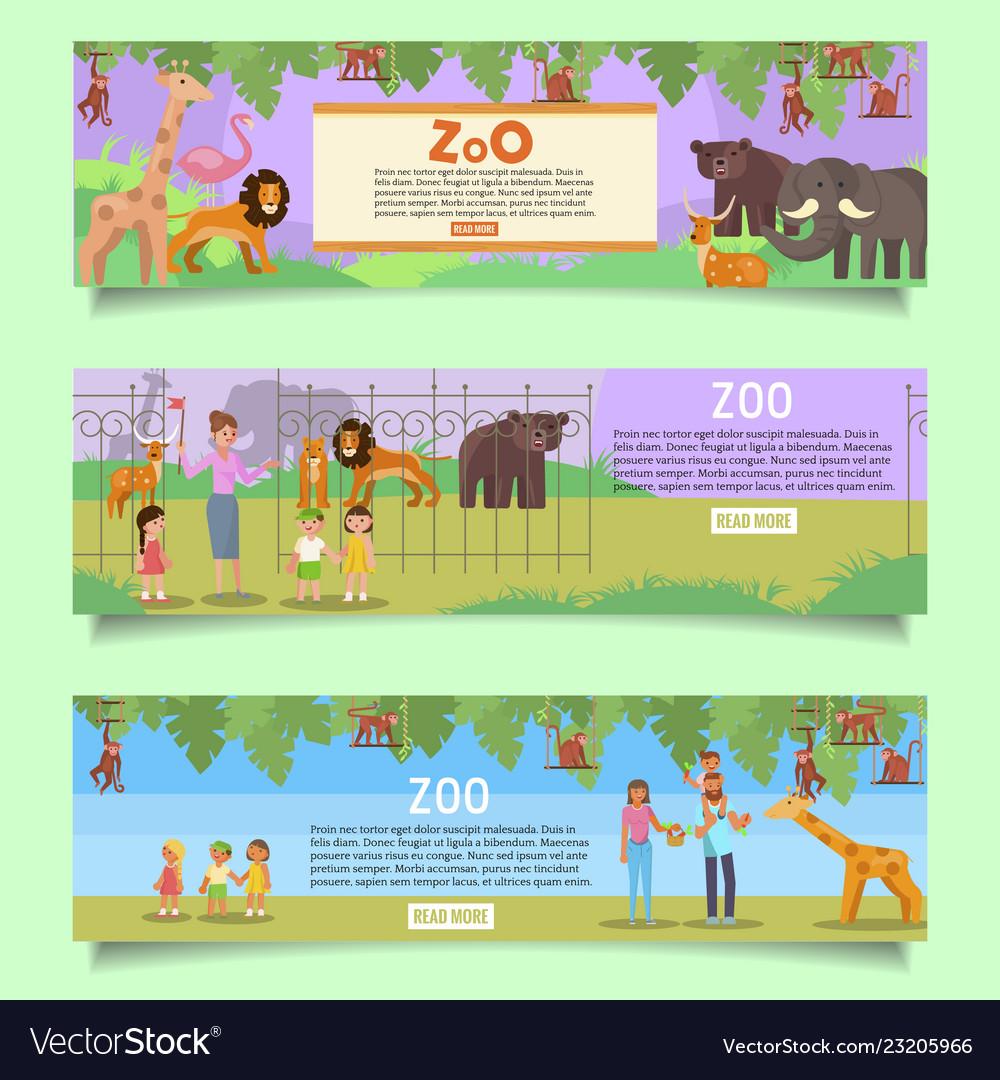 Zoo web banner template set flat