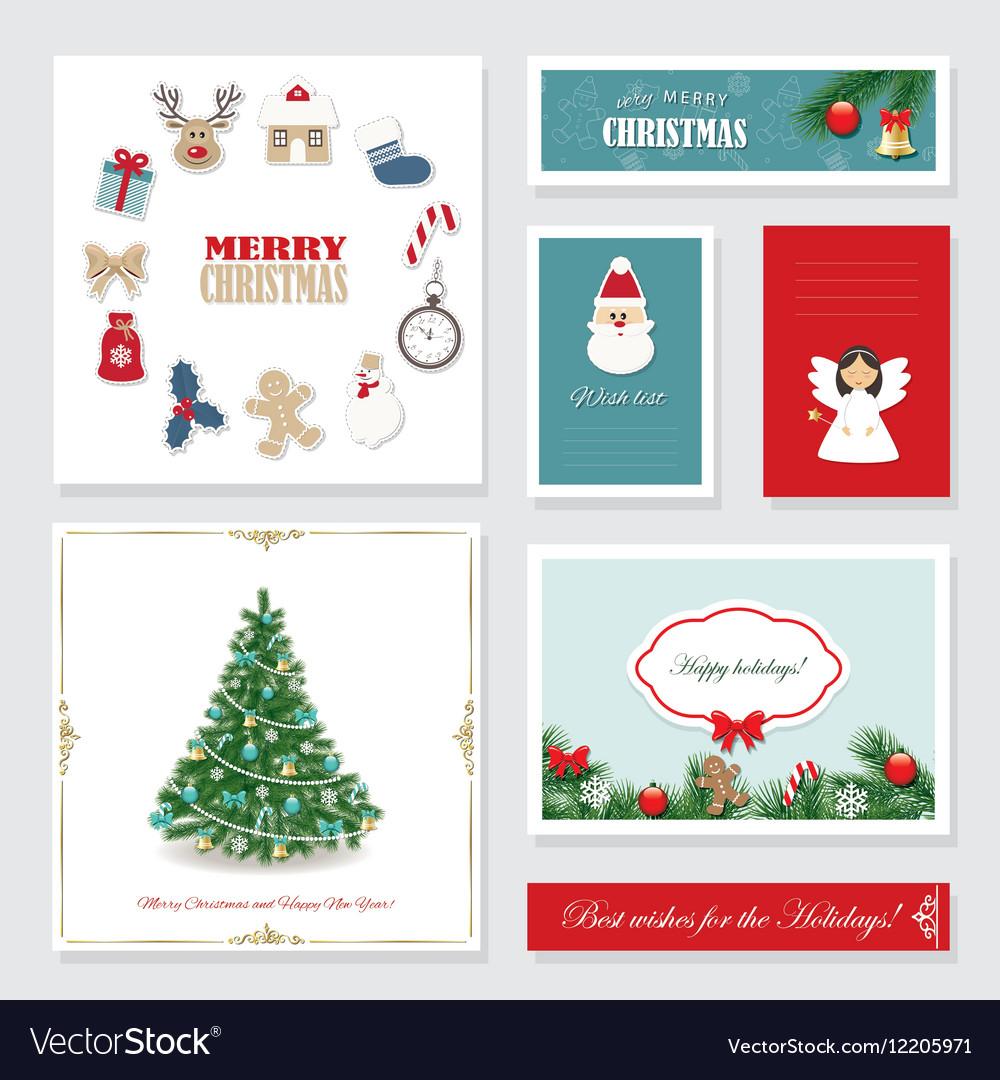 christmas card templates set vector image
